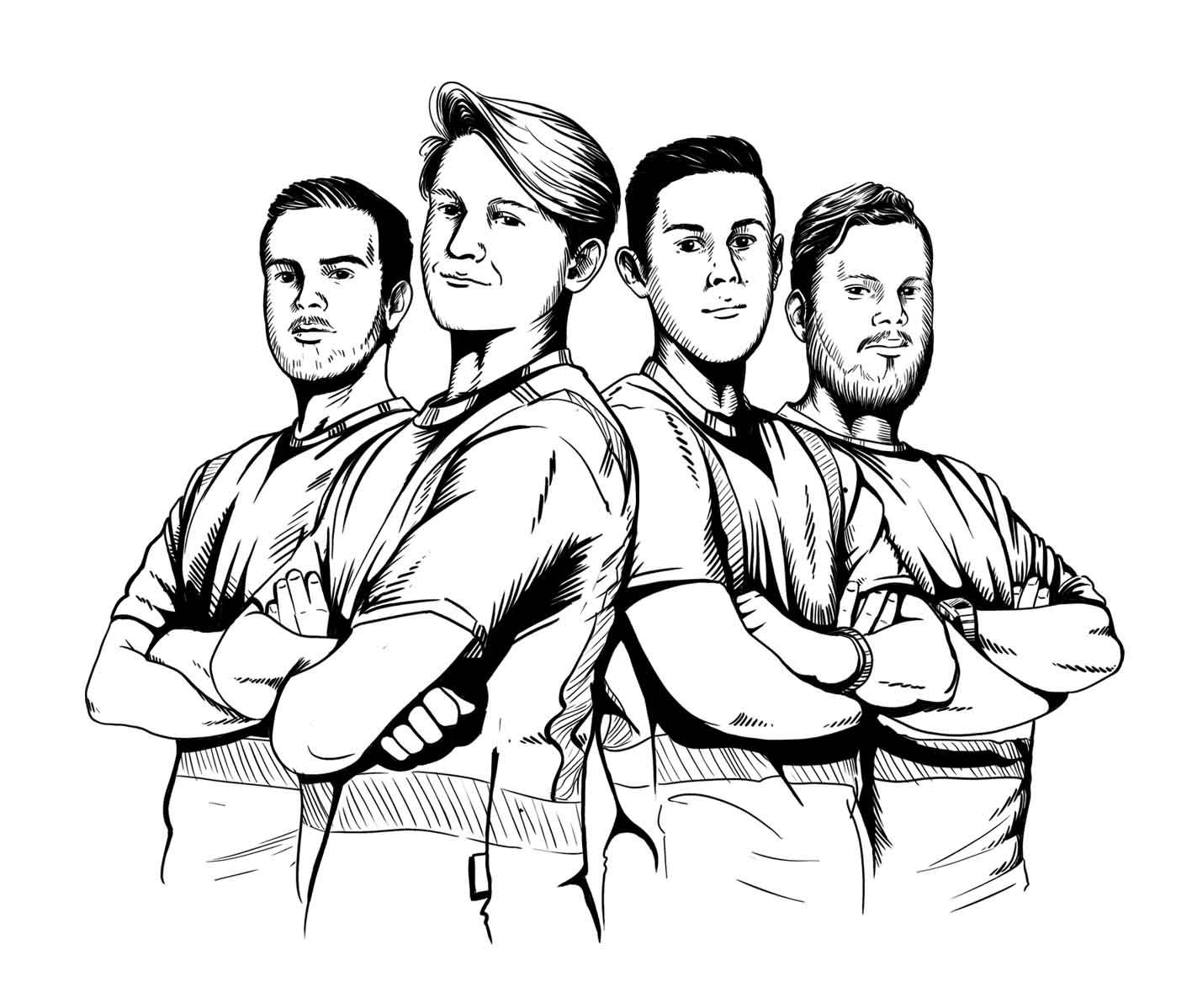 Die finale Illustration der vier angehenden Braumeister.