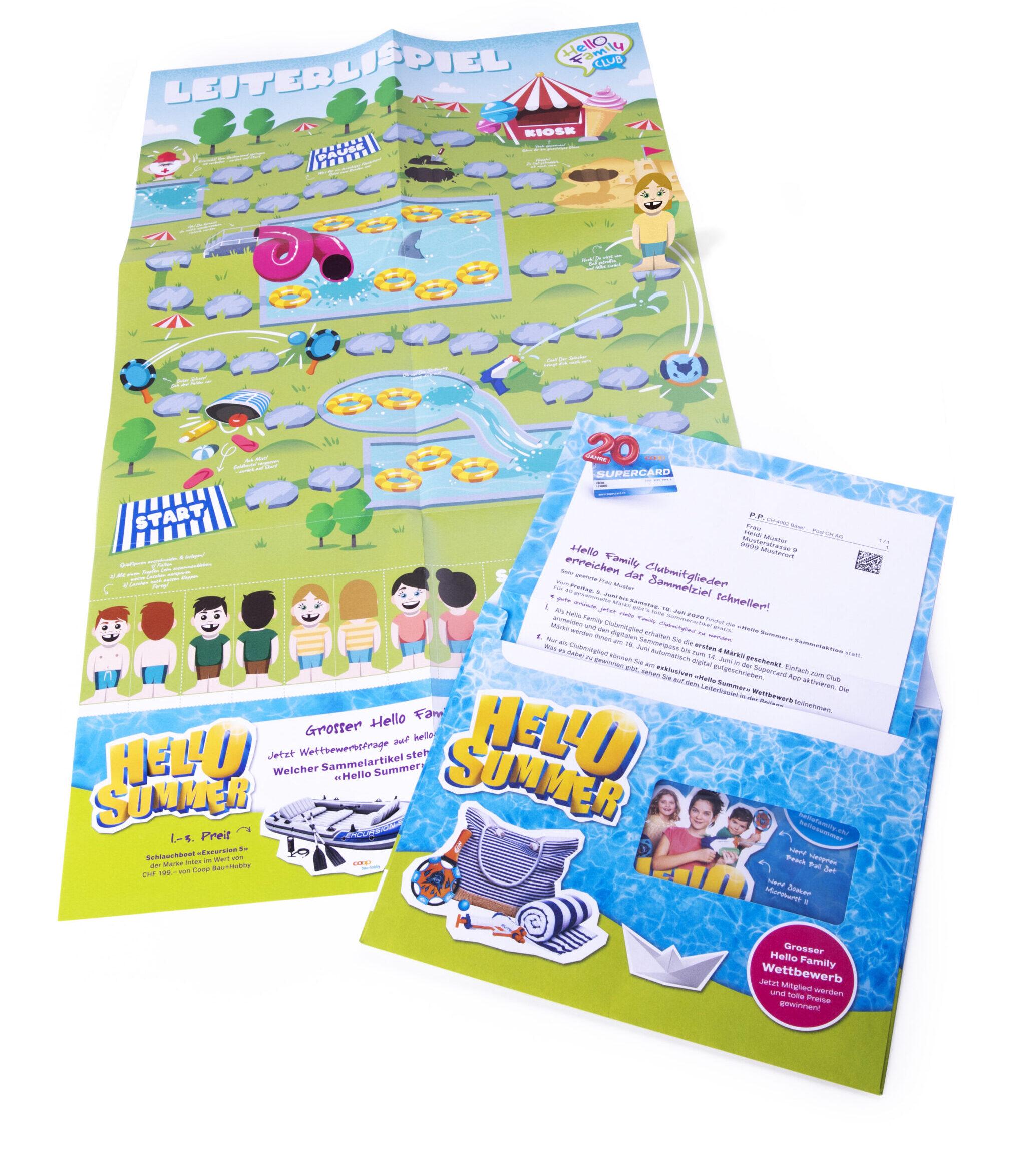 Direct Mailing des Coop Hello Family Clubs für die Sammelpromotion «Hello Summer»